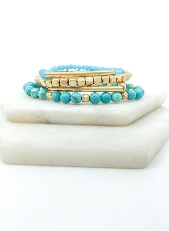 Turquoise + Brass Stacked Bracelet