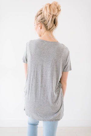 Gray Knot Top