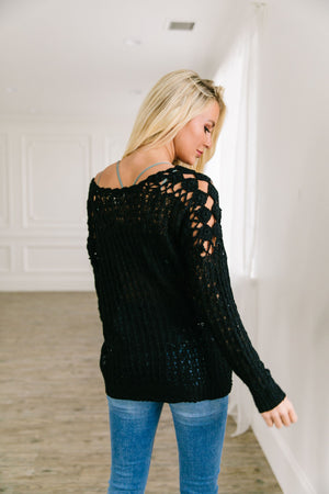Cut Above Diamond Crochet Sweater In Black