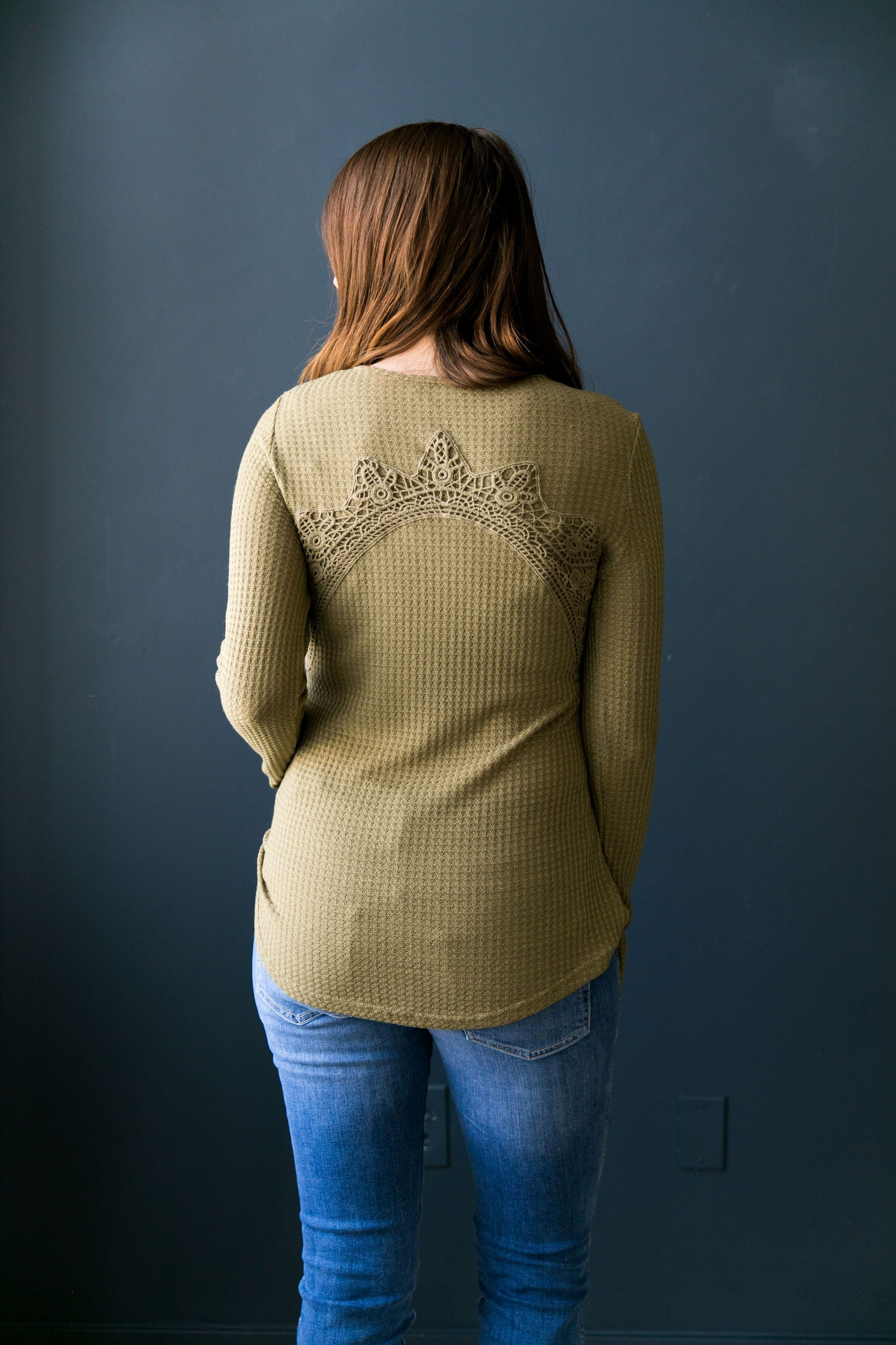 Heidi Lace Trimmed Henley In Olive