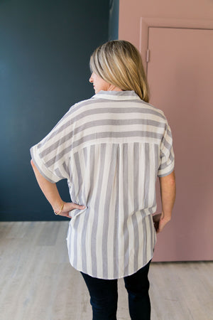 Katelynn Striped High-Low Button-Down - ALL SALES FINAL