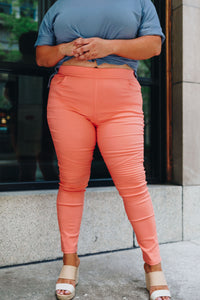 Marvelous Moto Jeggings In Coral PLUS