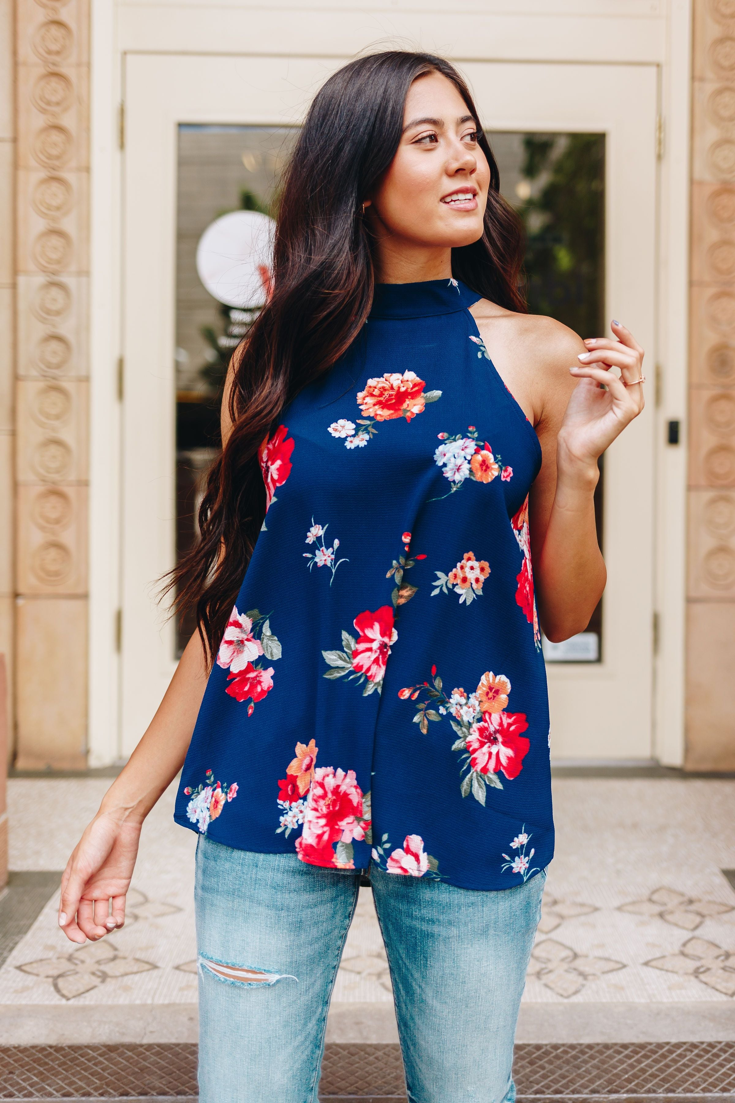 Midnight Blooms Halter Top