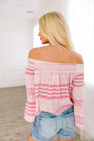 Striped Delight Off Shoulder Blouse - ALL SALES FINAL
