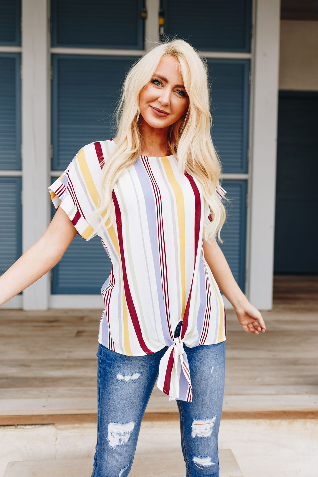 Striped Simplicity Tie-Front Top