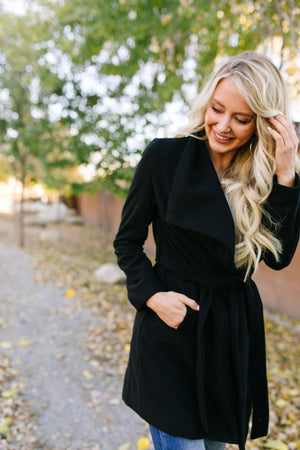 A Breath Of Paris Classic Wrap Trench Coat In Black - ALL SALES FINAL
