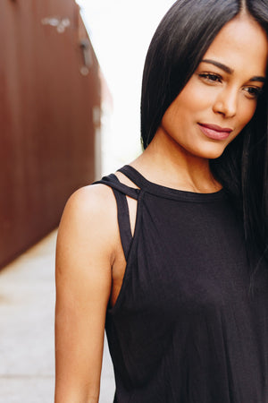 All Cut Up Sleeveless Top In Black