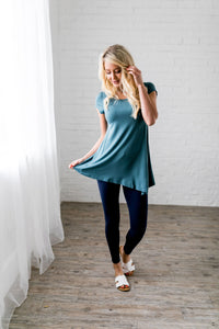 Asymmetrical Buttons Tunic In Antique Blue