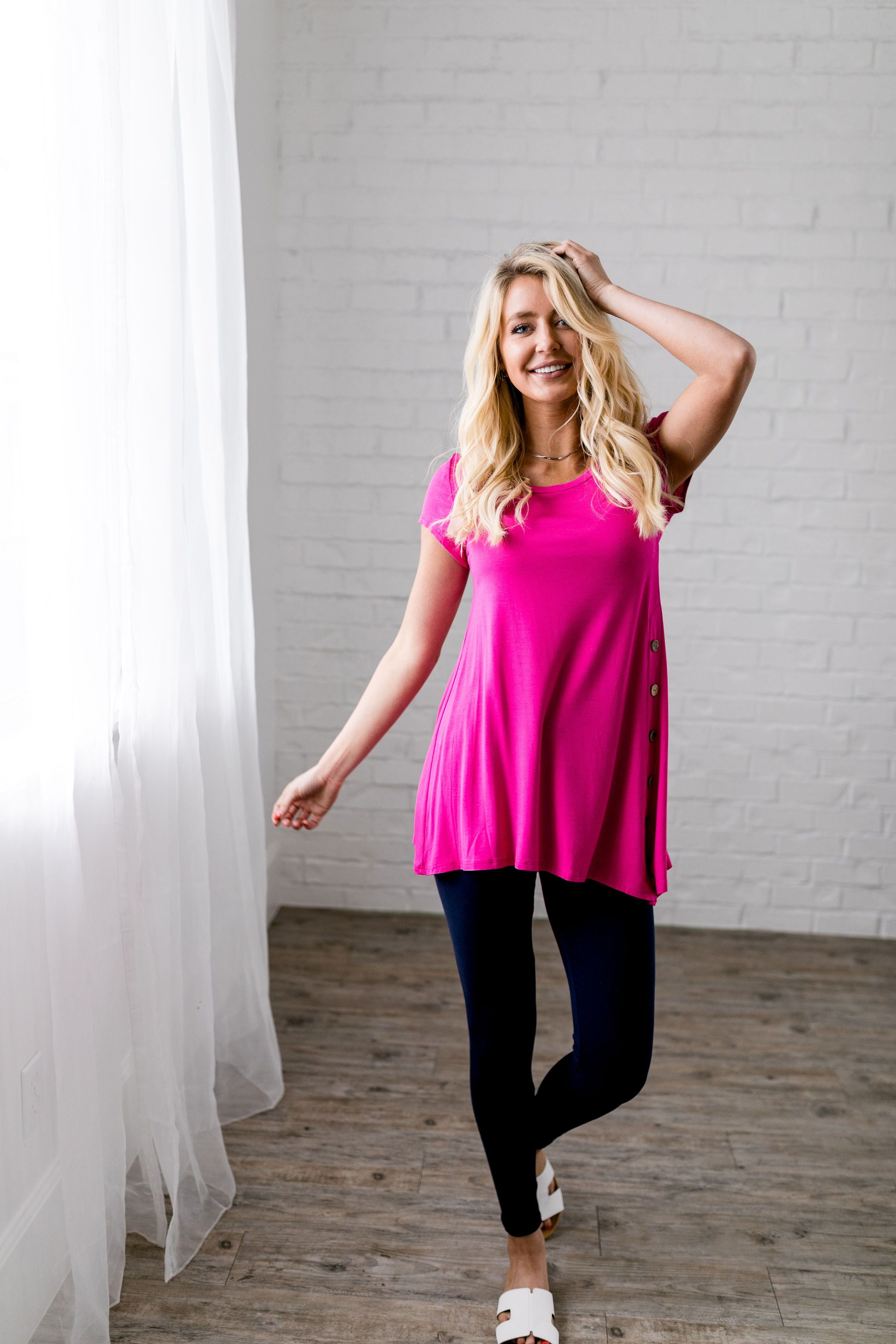 Asymmetrical Buttons Tunic In Hot Pink