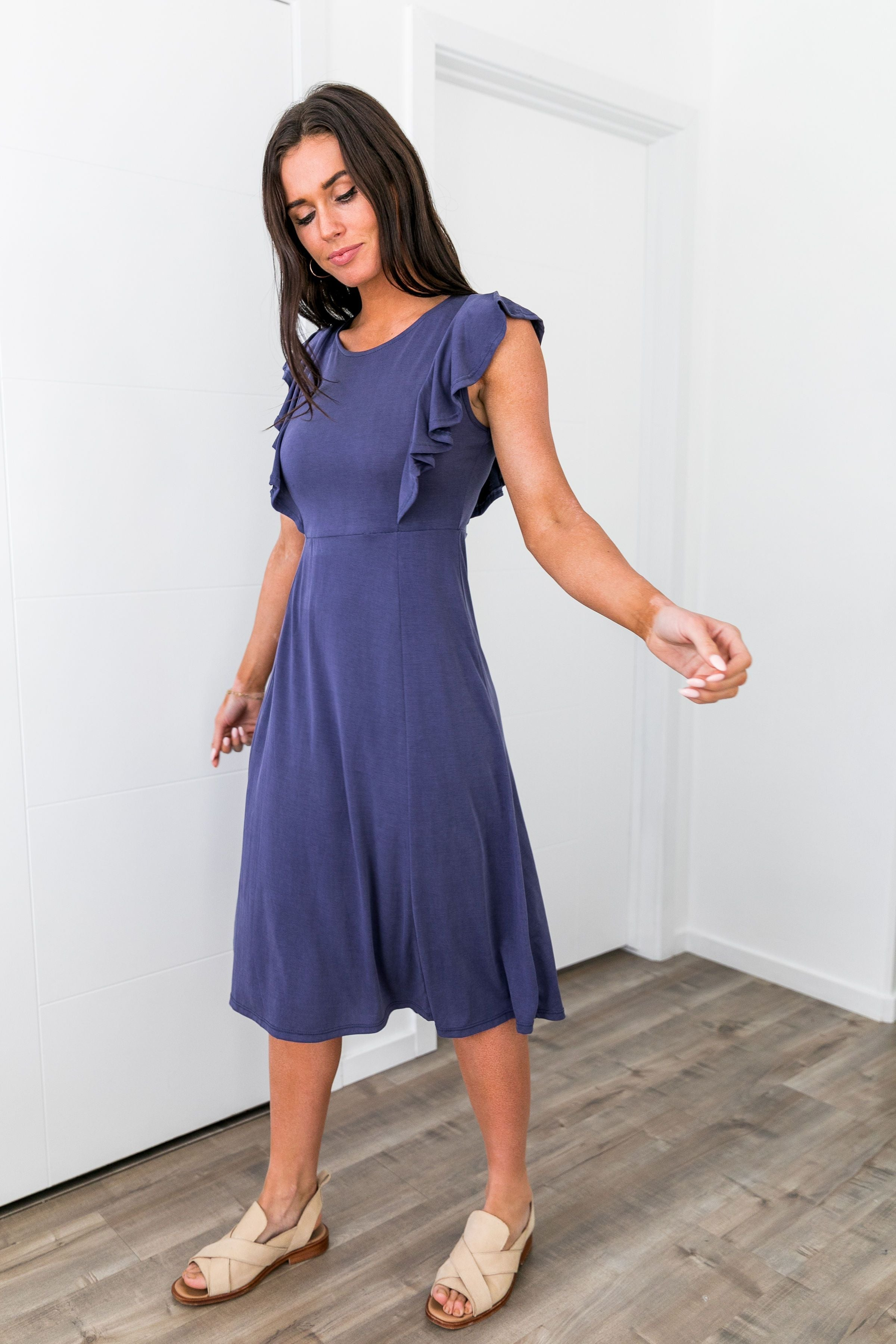 Babydoll Blue Ruffle Sleeve Dress - ALL SALES FINAL