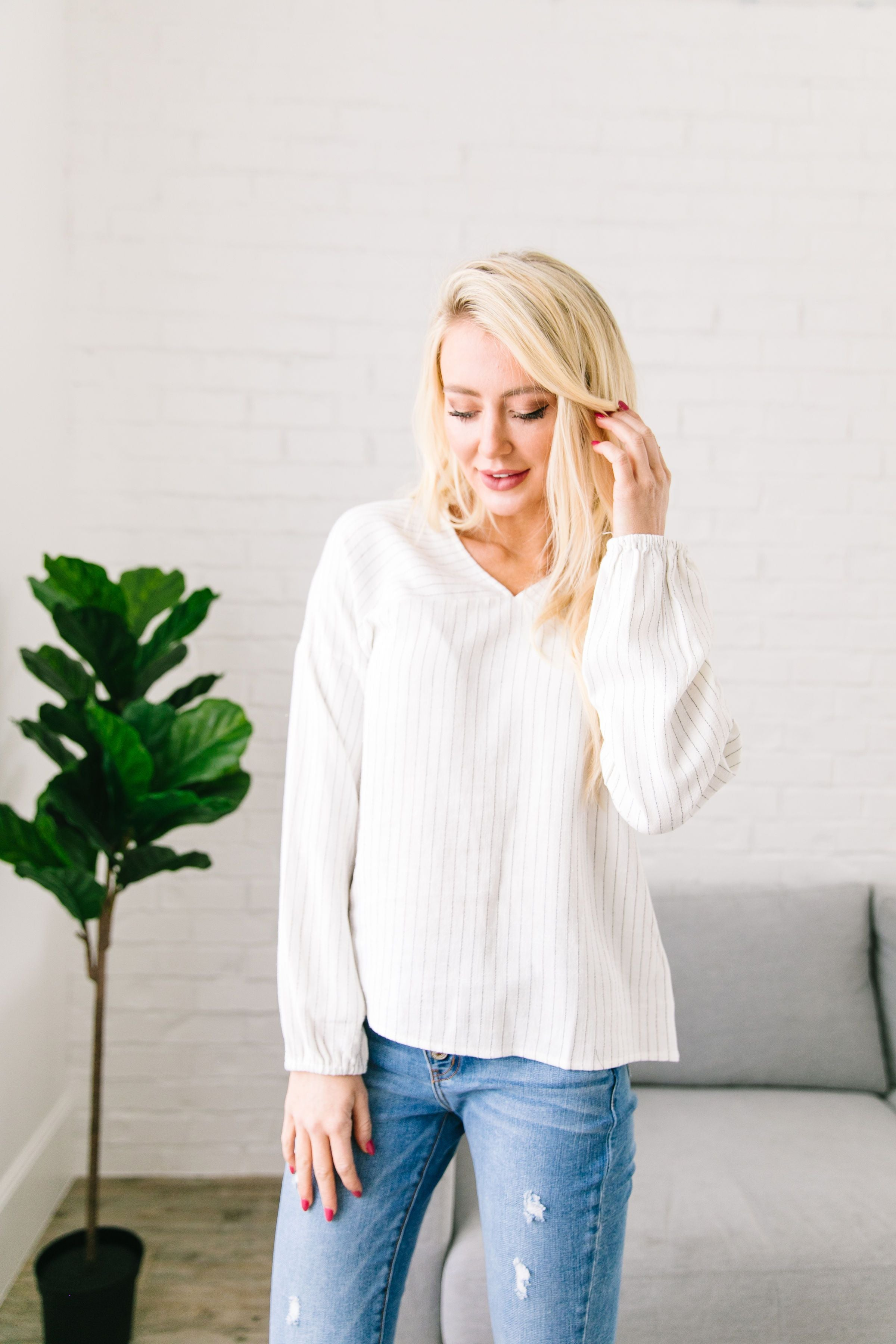 Bellevue Striped V-Neck Top