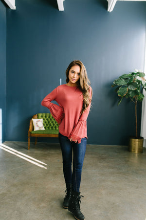 Bells And Whistles Waffle Knit Top In Sienna - ALL SALES FINAL