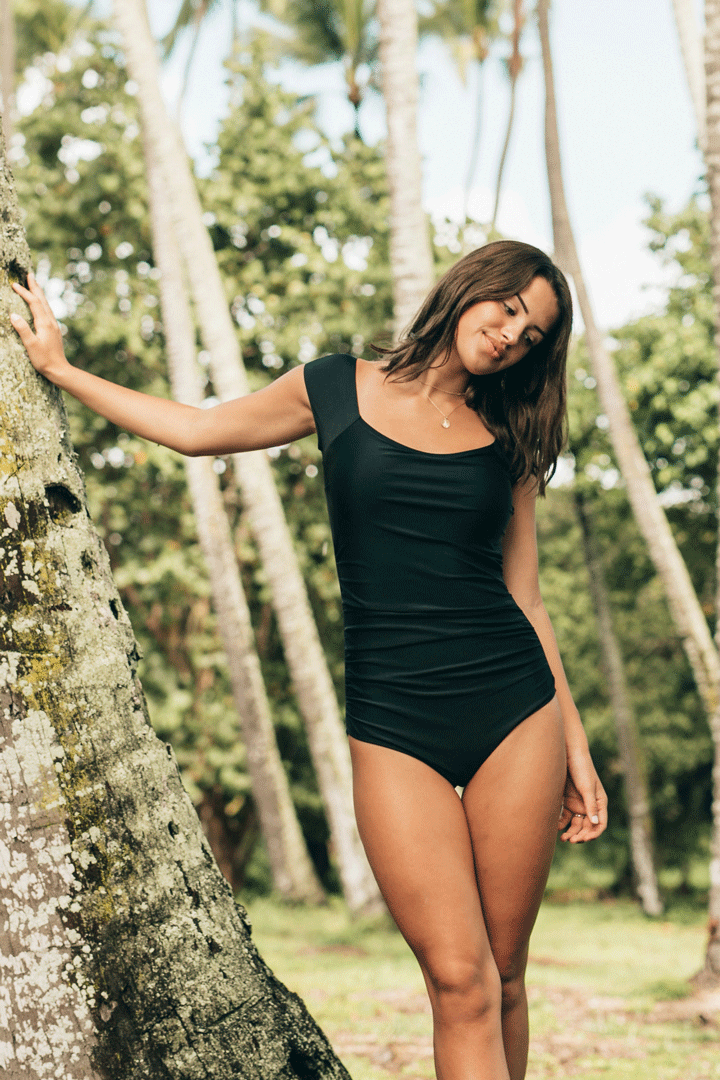 Black Bardot One Piece