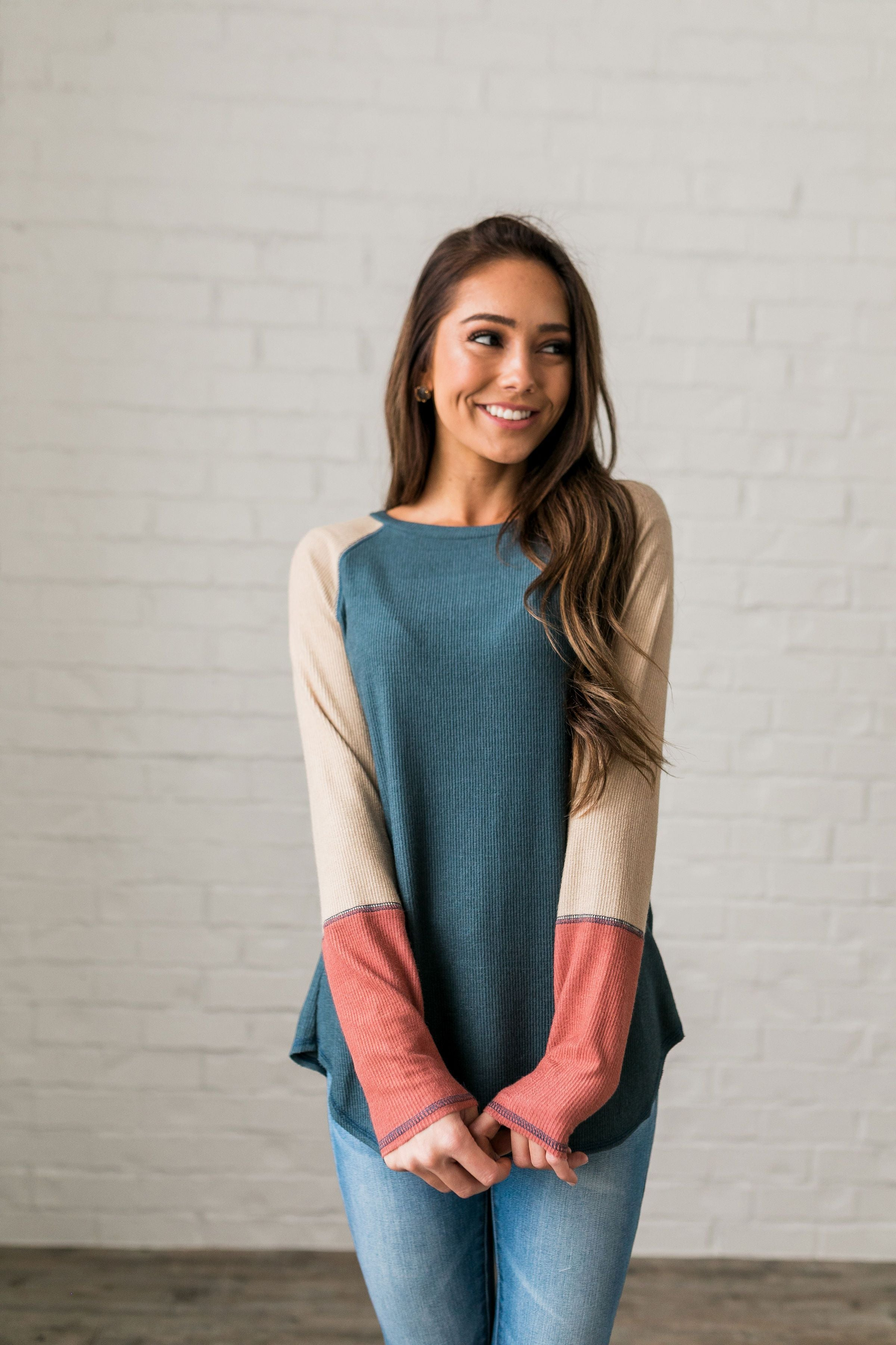Blanca Color Block Raglan Tee - ALL SALES FINAL