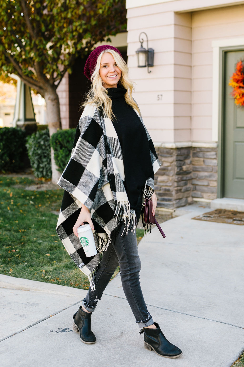 Blank Check Plaid Poncho - 11/12/2019