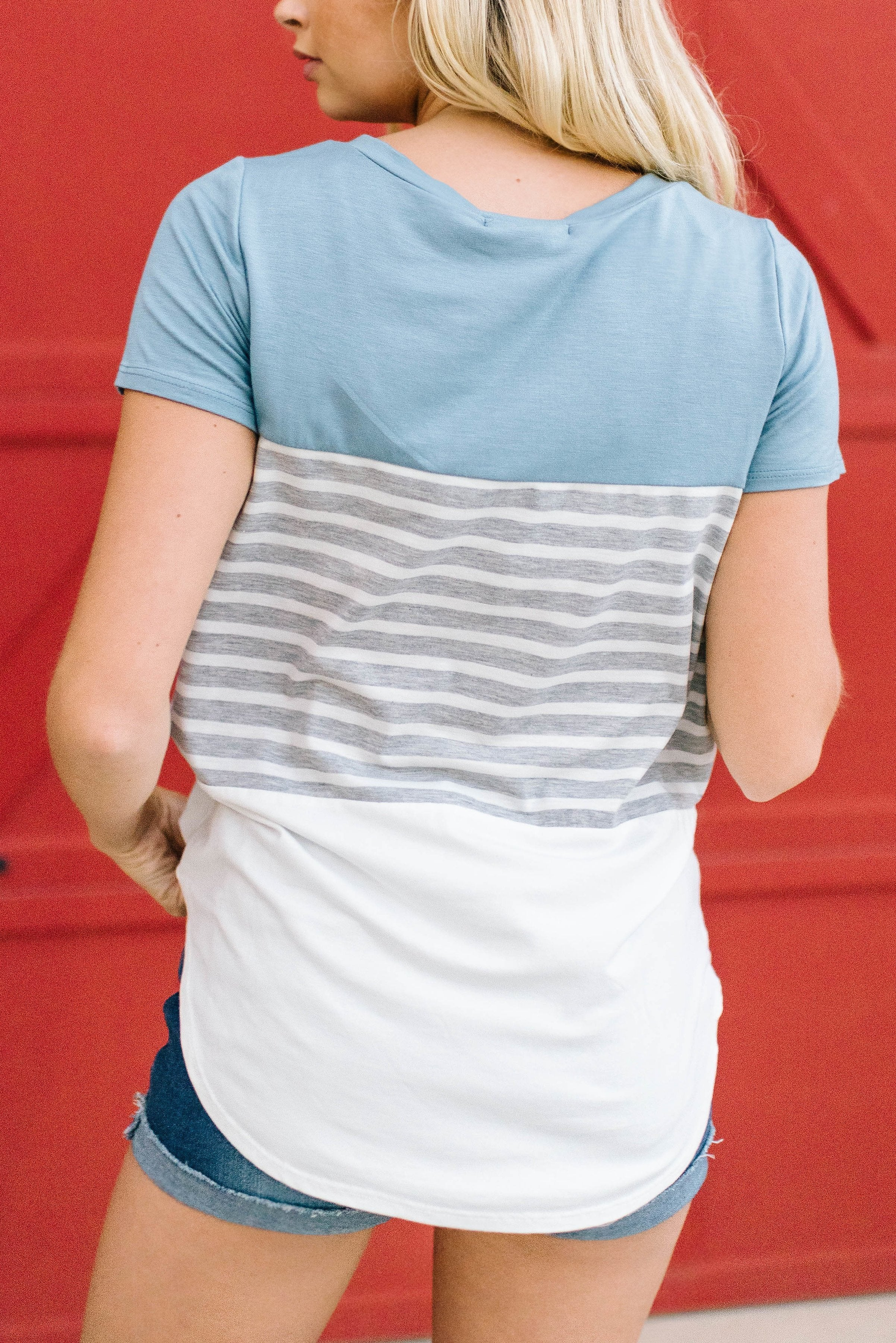 Blue Color Block + Stripes Tee