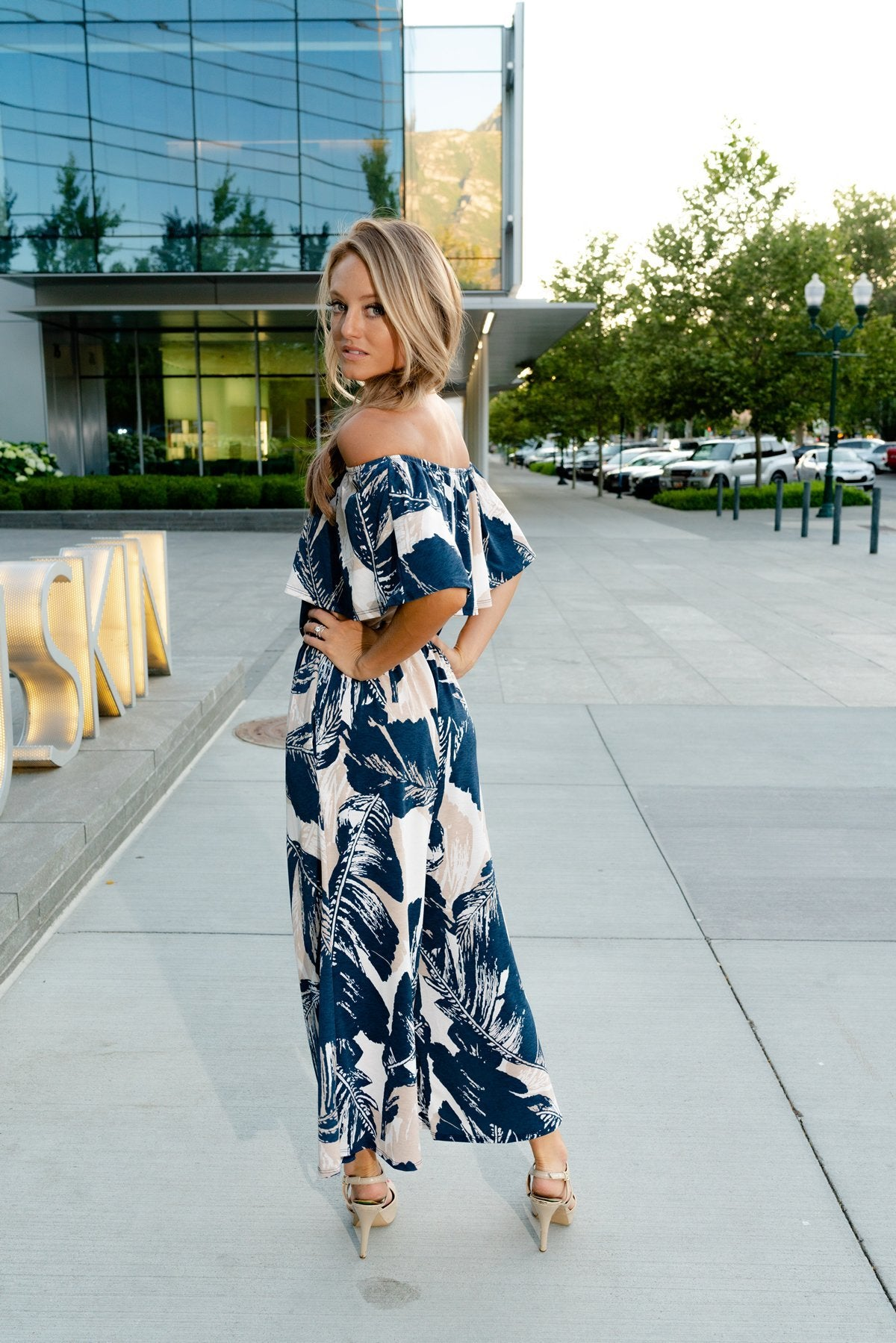 Blue Palm Jumpsuit