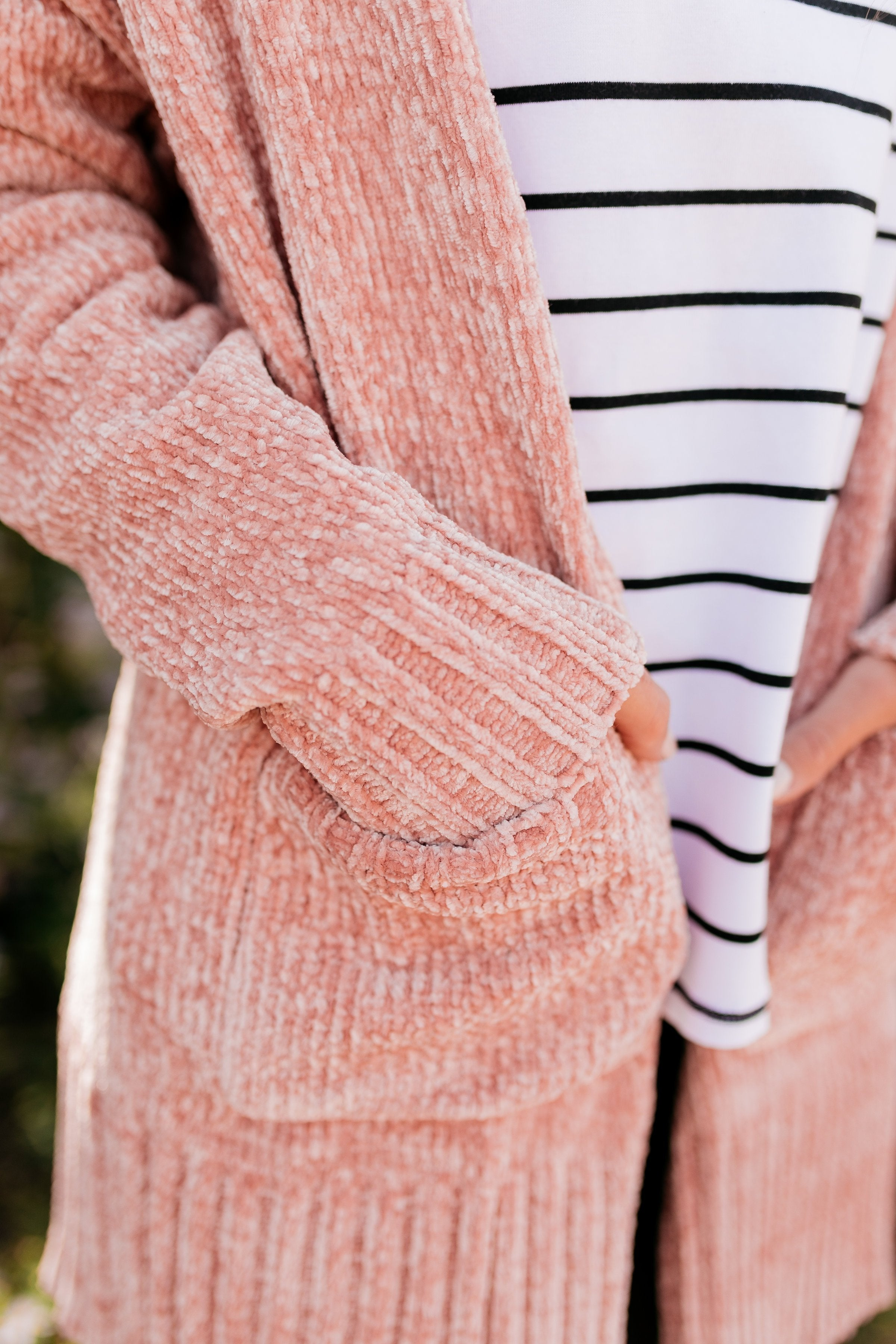 Blushing Beauty Chenille Cardigan - ALL SALES FINAL