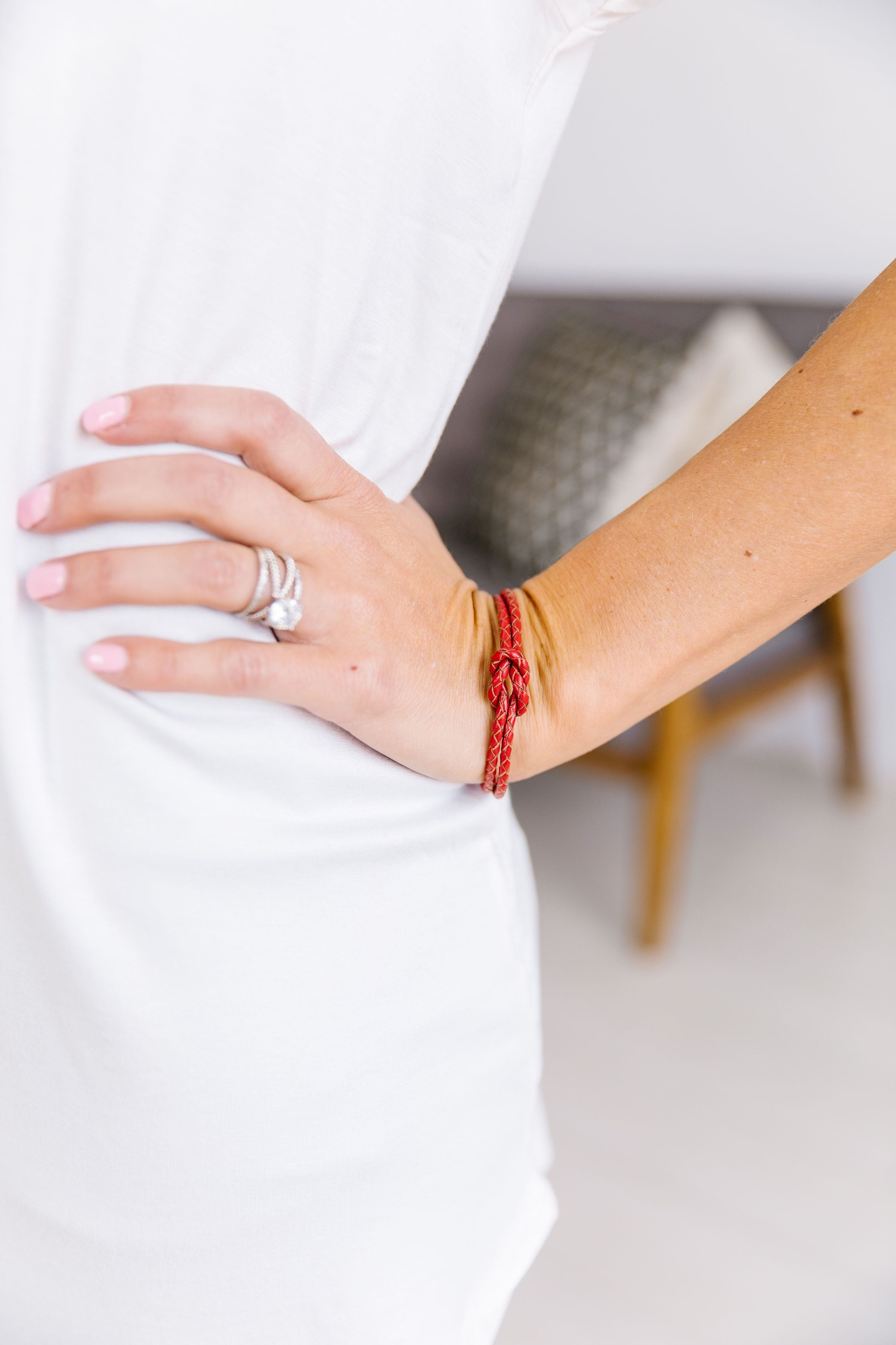 Braided Red Leather Knot Bracelet