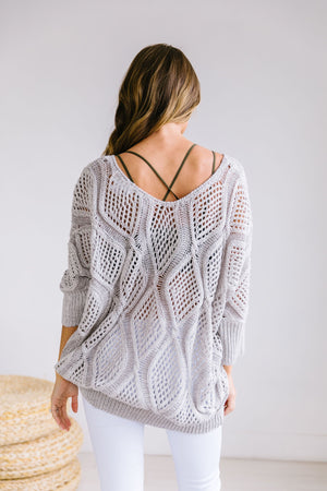 Bring On The Sun Spring Sweater In Gray