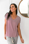 Burgundy Striped V-Neck Tee - ALL SALES FINAL
