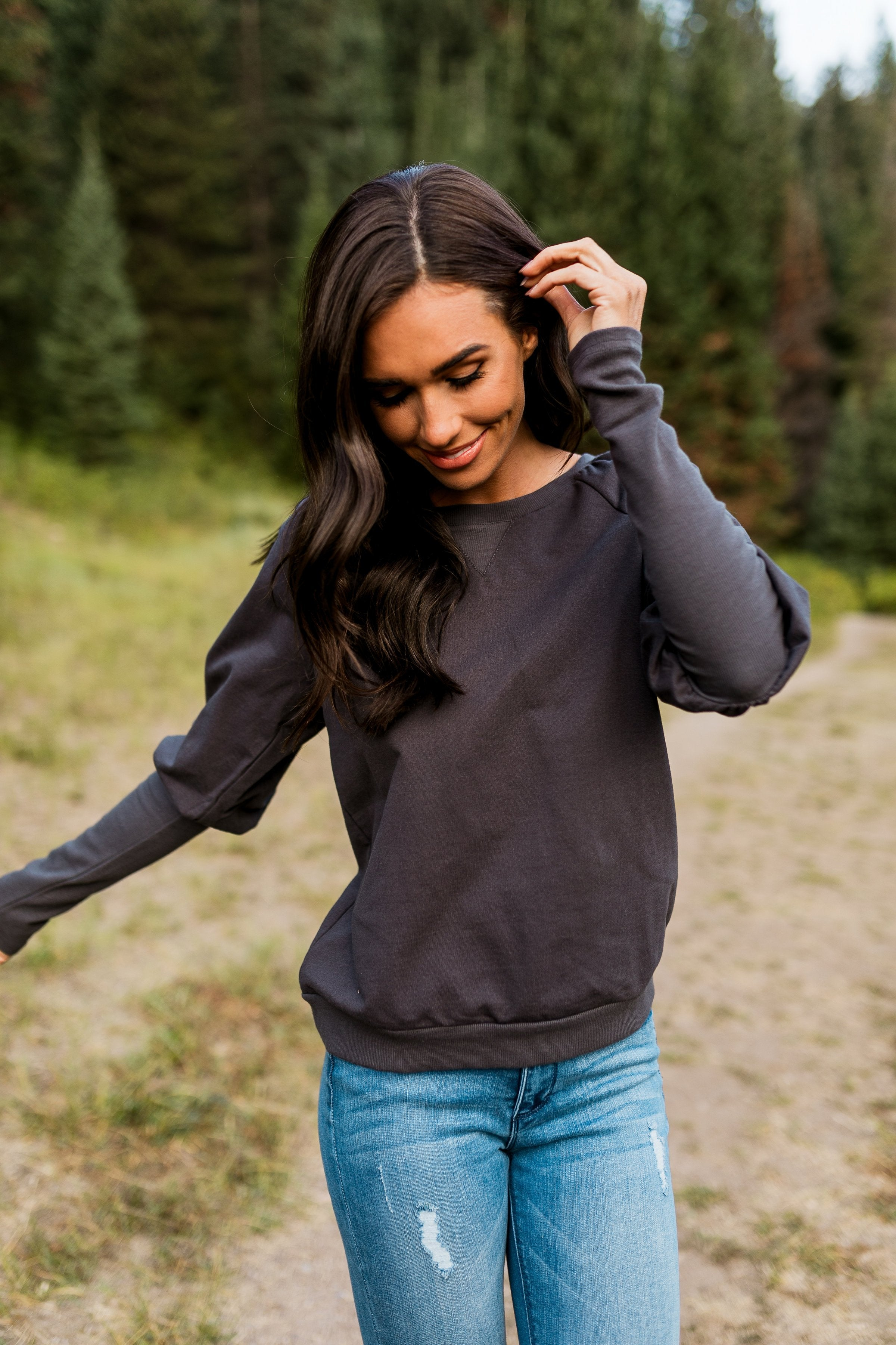 Burnout Blouson Sleeve Sweatshirt In Charcoal - ALL SALES FINAL