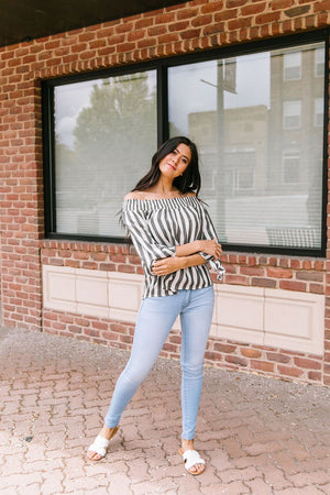 Carefree Striped Off The Shoulder Top