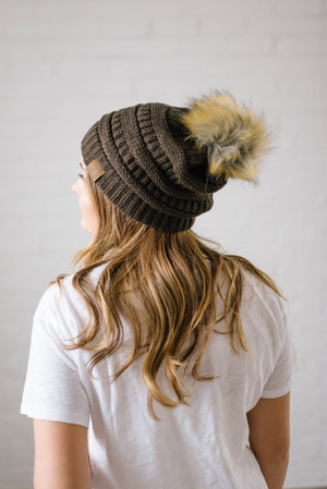 CC Fur PomPom Beanie in Brown