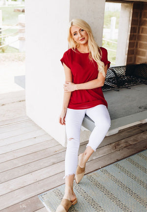 Chelsea Rolled Sleeve Top In Ruby Red
