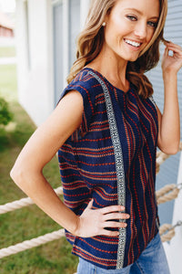 Cherokee Cap Sleeve Blouse In Navy