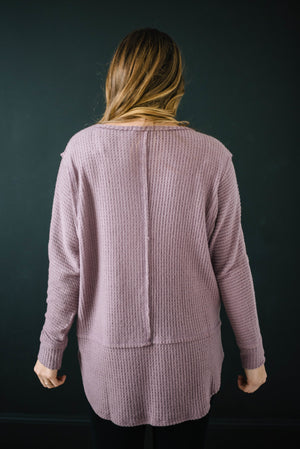 Coffee + Waffle Knit Top in Mauve