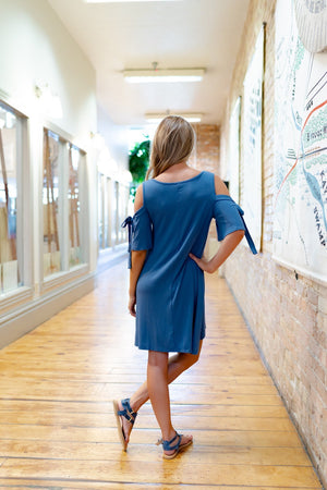 Cold Shoulder Dress In Blue