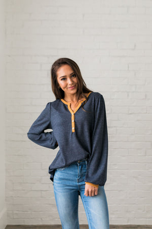 Compare + Contrast Waffle Knit Top - ALL SALES FINAL