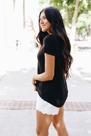 Contrasting Criss Cross Tee In Black + White