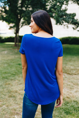 Contrasting Criss Cross Tee In Royal + Gray