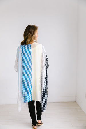 Cool Striped Color Block Kimono