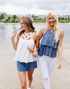 Cornflower Ruffle Halter Top