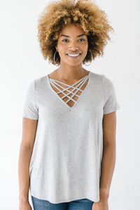 Criss Cross Tee In Heather Gray