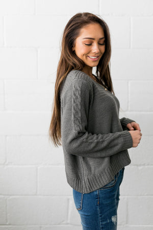 Cropped Cable Knit Sweater In Charcoal - ALL SALES FINAL