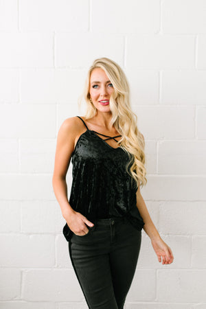 Cross My 🖤 Crushed Velvet Cami In Black - ALL SALES FINAL