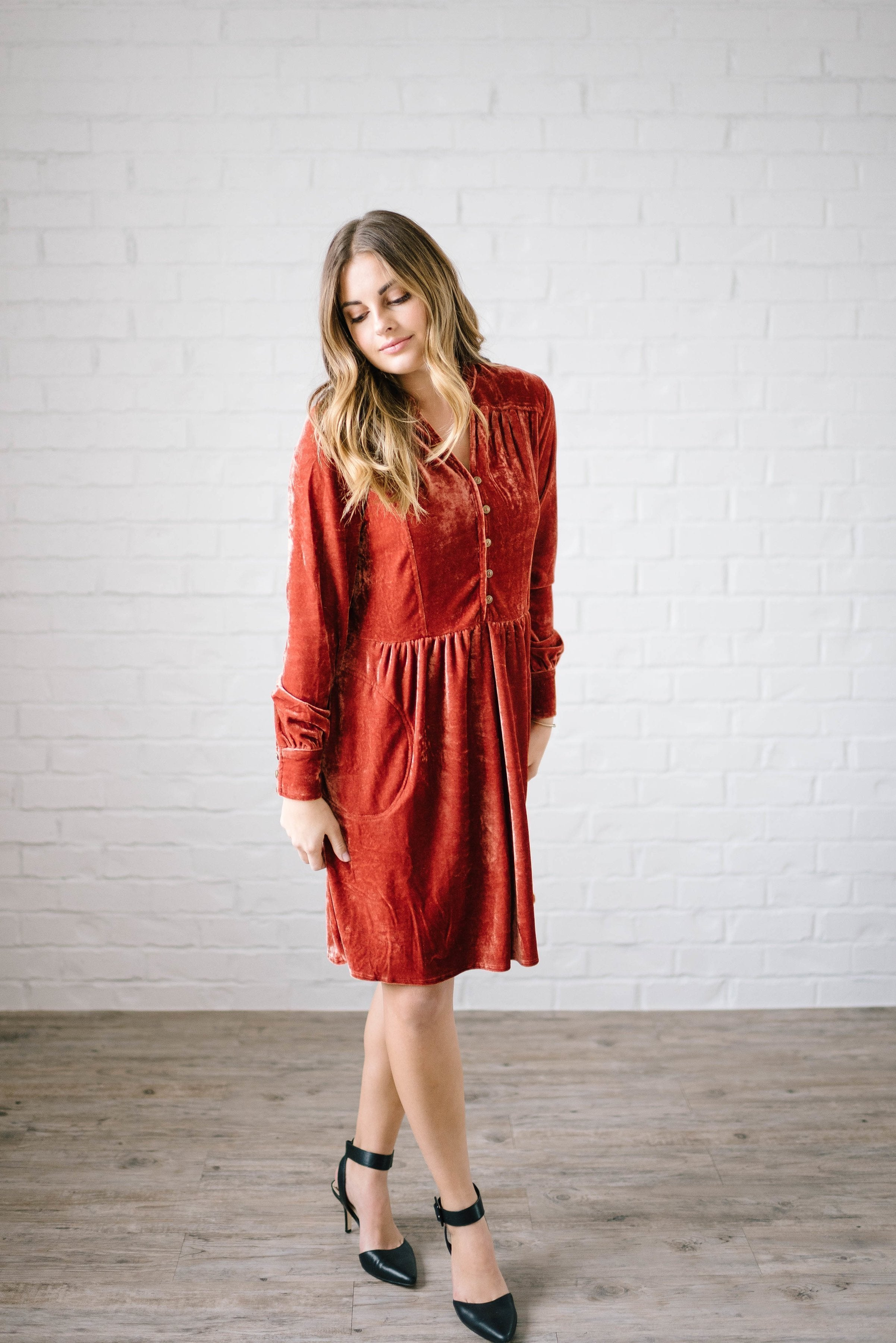 Crushing on You Dress in Rust