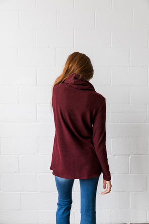Cute As A Button Cowl Neck Sweater In Burgundy