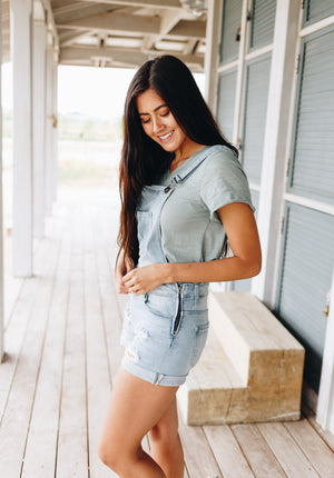 Daisy Denim Distressed Shortalls