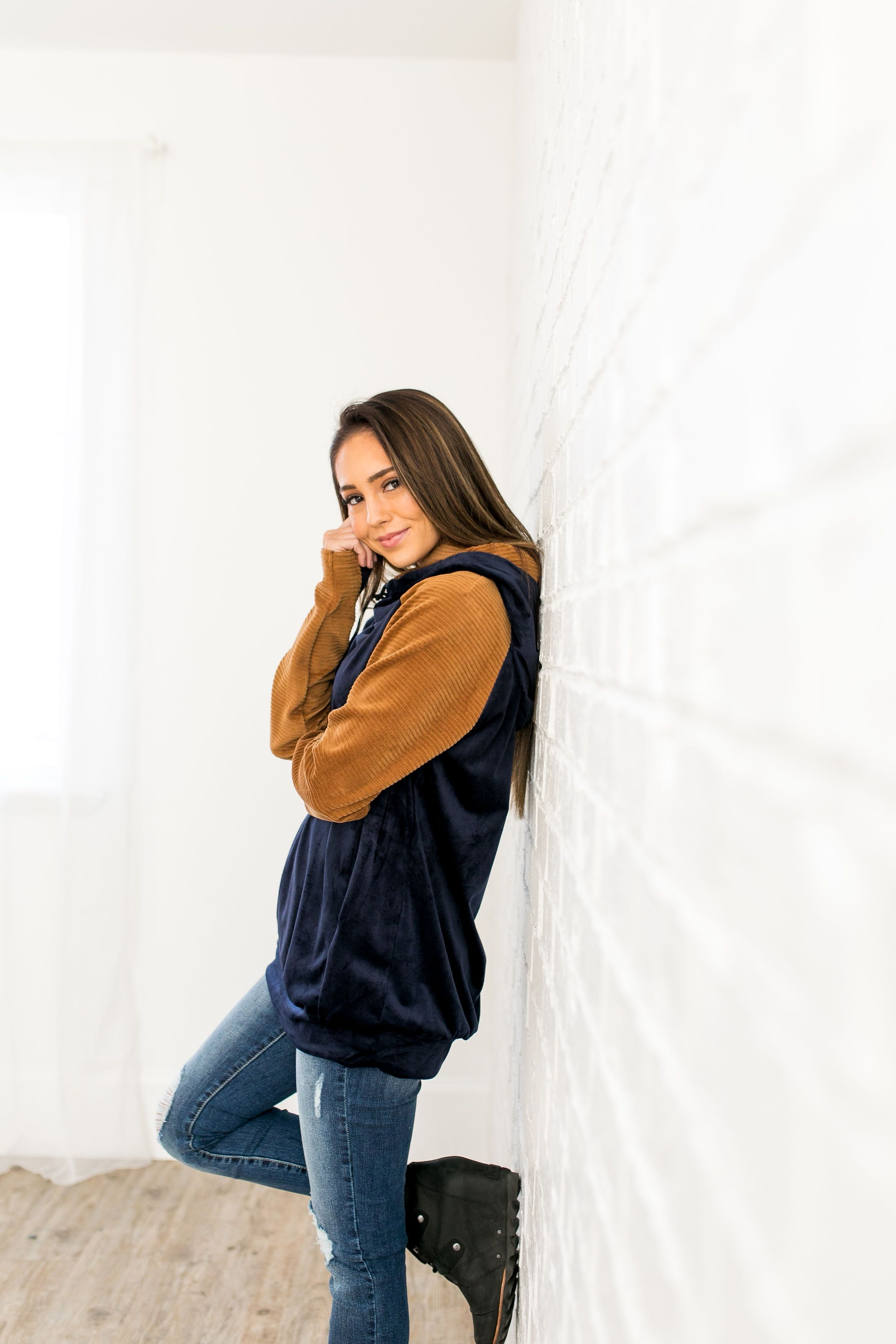 Daydreamer Velour Colorblock Hoodie - ALL SALES FINAL