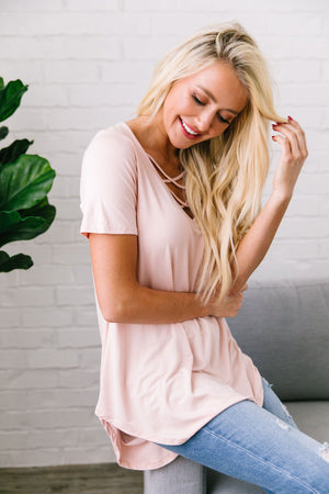 Double Cross Tee In Blush