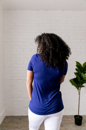 Draped Tie Front Top In Blue - ALL SALES FINAL