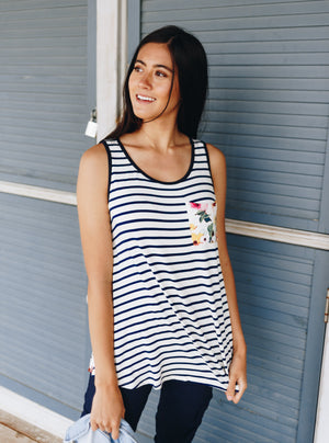 Duplicity Floral + Striped Tank