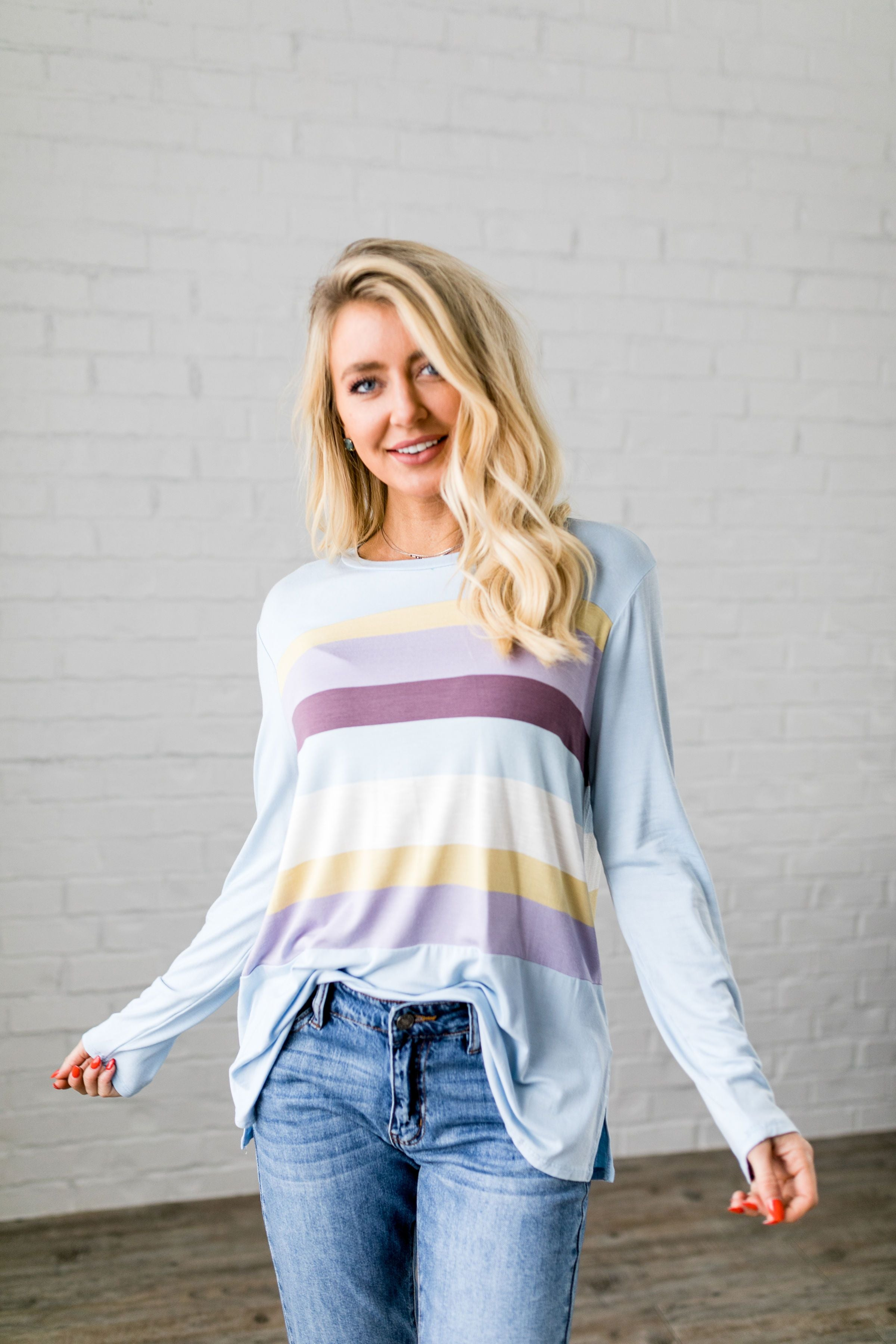 Easter Striped Top In Baby Blue