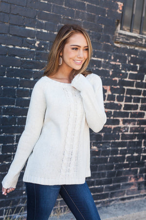 Fall Fantasy Peekaboo Sweater In Vanilla