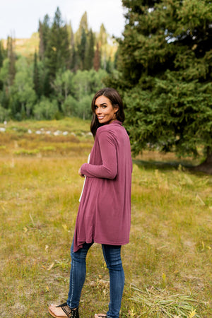 Fine Knit Cardi In Wine